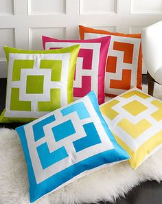 """""""Palm Springs Block"""" Pillow by Trina Turk is embroidered, but could be adapted for a patchwork Bright Pillows, Colorful Pillows, Diy Pillows, Accent Pillows, Decorative Throw Pillows, Pillow Ideas, Yellow Pillows, Cushion Covers, Pillow Covers"""