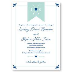 Hearts & Arrows Monogram Wedding Invitation in Seafoam and Navy inks.  Modern, Elegant.   $1.39