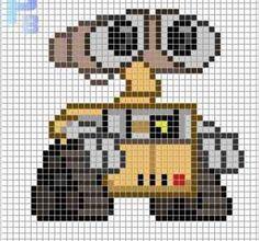 Wall-E perler pattern Patrones Beads / Plantillas para Hama: - Weebly Website - Help you design your Perler Bead Designs, Pearler Bead Patterns, Perler Bead Art, Perler Patterns, Perler Beads, Hama Beads Disney, Kandi Patterns, Beaded Cross Stitch, Cross Stitch Embroidery