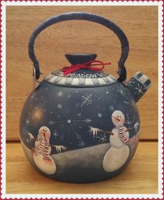 This is a winter project by Pat Jarrett, In The Meadow Teapot - E-Packet - Pat Jarrett. Christmas Tea, Christmas Crafts, Christmas Decorations, Santa Crafts, Holiday, Teapot Crafts, Wooden Welcome Signs, Country Paintings, Tea Cozy