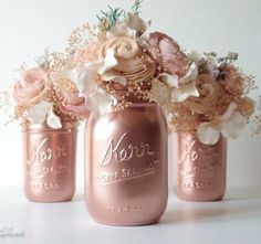 Rose Gold Decor / Copper mason jar / Painted Mason Jars Home Decor Wedding Decor Vase Centerpiece / Bestseller Pink Copper Rose Gold Decor Painted Mason Jars Home by BeachBlues Wedding Table, Diy Wedding, Wedding Flowers, Dream Wedding, Reception Table, Wedding Favors, Trendy Wedding, Spring Wedding, Wedding Makeup