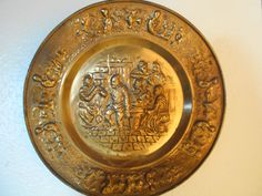 17 1/4 inch Brass Plated Tin Wall hanging- Pub Scene, Made In Holland by SETXTreasures on Etsy