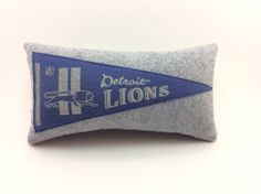 Detroit Lions Football Vintage Pennant Pillow by MGDesigns