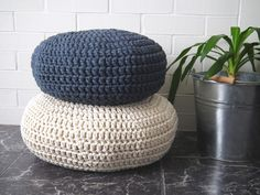 Modern Crochet Floor Cushions - creams/ yellows/ greens/ blues Living Room Furniture Pouf - Knitted Seating Eco friendly Decor - Housewares by LoopingHome on Etsy https://www.etsy.com/listing/181595765/modern-crochet-floor-cushions-creams