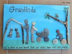 Pebble Art PERSONALIZED Grandkids Grandparents Grandchildren or Family Stone Painting Picture  Made with Beach Finds MTO