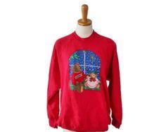 back to school sale // Vintage 90s Ugly Christmas Sweater - Red Novelty Sweatshirt Women Men XL - Teddy Bears