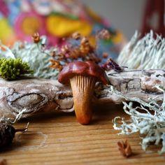 Image of Chanterelle Mushroom - Original Avocado Stone Talisman (Pendant) Avocado Art, Whittling, Stone Carving, Stone Art, Stuffed Mushrooms, Bronze, Ceramics, Pendant, Image