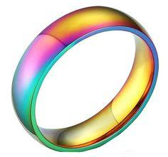 LGBT Gay Pride Lesbian Rainbow Rings, Stainless Steel, Rainbow Design 6MM, shine
