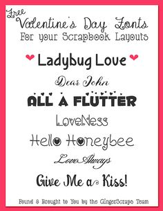 Valentine's Day Fonts ~~ w/ links - free for Personal Use only Fun Fonts, Cool Fonts, Font Sites, Valentine Day Love, Silhouette Projects, Vanilla, Typography, Printables, Graphics