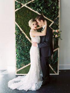 41 Edgy Modern Wedding Ideas You'll Love: geometric moss and greenery wedding backdrop look ideal for a modern affair