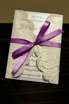 Items similar to 50 x Rustic Lilac Wedding Invitation Paper Doily / Doilies recycled card on Etsy Lilac Wedding Invitations, Wedding Invitation Samples, Wedding Stationary, Invitation Cards, Lace Invitations, Invites, Wedding 2015, Diy Wedding, Rustic Wedding