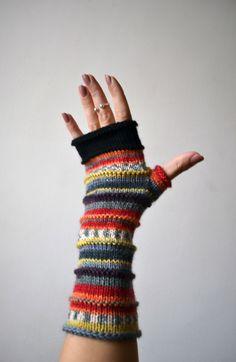 Merino Wool Fingerless Gloves - Knit Fingerless gloves - Fashion Gloves - Rainbow Fingerless Gloves - Christmas Gift - Black Friday nOLuxury merino wool gloves, Striped arm warmers, Gift, Women gloves, Hand knit gloves - Etsy - Image Sharing WorldLovely g Fingerless Gloves Knitted, Knit Mittens, Mittens Pattern, Hand Knitting, Knitting Patterns, Crochet Patterns, Gloves Fashion, Selling Handmade Items, Wool Gloves