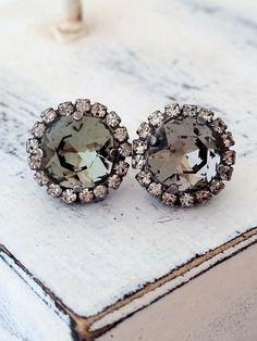 Smokey Gray Swarovski crystal halo stud earrings, Grey Black diamond stud earrings, Bridal, Bridesmaid earrings, oxidized silver or gold