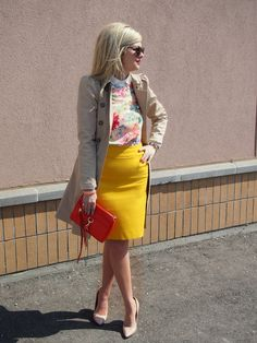Floral with white background with a bright skirt