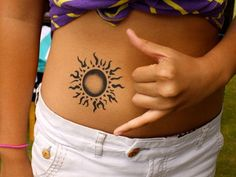 45 Superb Sun Tattoo Designs & Meaning - Bright Symbol of The Universe Check more at http://tattoo-journal.com/25-shinny-imaages-of-sun-tattoos/