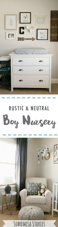 Beautiful rustic neutral nursery with gray, white, and wood accents. So many cute pictures and ideas! Beautiful rustic neutral nursery with gray, white, and wood accents. So many cute pictures and ideas! Modern Kids Bedroom, Modern Nursery Decor, Nursery Neutral, Nursery Design, Neutral Nurseries, Baby Girl Nursery Themes, Baby Boy Rooms, Baby Room, Rustic Color Schemes