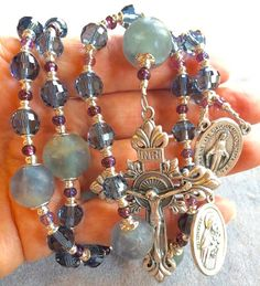 Blue Rosary Crystal Afghan beads St Therese by HeartFeltRosaries