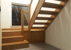 Beautiful Oak glass staircase with shadow steps and open risers Oak Stairs, Glass Stairs, Wooden Stairs, Glass Stair Balustrade, Stair Spindles, Attic Bedrooms, Staircases, Loft, House Ideas