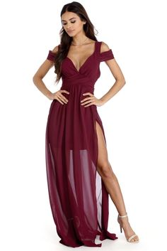 """<p><strong>Special Occasion</strong></p>  <p>Glide through the night in waves of chiffon! Debra features a V neckline, a cold shoulder design, an invisible zipper and a flowing floor length skirt with a front slit. Shehas a sheer chiffon feel with a lightly pleated detail and a short dress lining.</p>  <p><em>Model is 5'6 with a 32"""" bust, 23"""" waist and 34"""" hips. She is wearing a size small.</em></p>"""