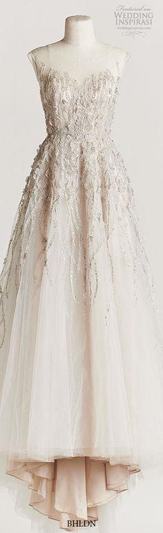 bhldn spring 2015 wisteria beaded bodice A-line wedding dress illusion neckline…