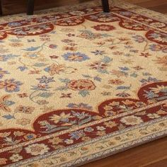 Patterned after a country French style, this rug is wool, with a tight micro loop construction for exquisite detail. Country French, French Style, Country Rugs, Hardwood Floors, Flooring, Kitchen Rug, Rug Hooking, Deep Cleaning, Vintage Looks