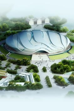 2010 Guangzhou Asian Games stadiums, future building, future architecture, futuristic building Stadium Architecture, Parametric Architecture, Organic Architecture, Architecture Design, Futuristic City, Futuristic Design, Futuristic Architecture, Amazing Architecture, Unusual Buildings