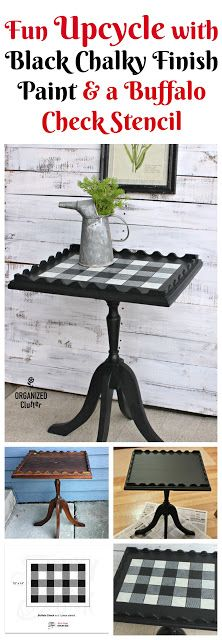 Garage Sale Pedestal Table Upcycled with Chalky Finish Paint & Stencils organizedclutter.net