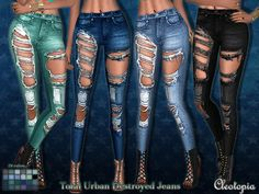 Total Urban Destroyed Jeans by Cleotopia at TSR via Sims 4 Updates
