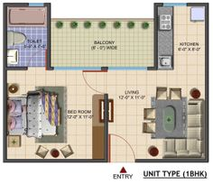 Floor Plan- 650 sqft 1 Bhk.