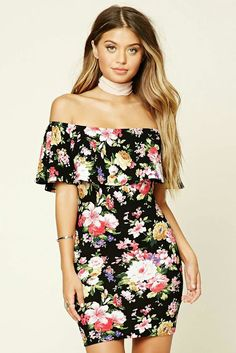 Off shoulder floral mini dress - mini dress