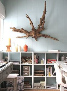 Interesting driftwood on the wall