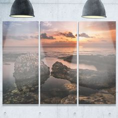 Bring Contemporary Abstraction to your home with this large 36Wx28H Metal wall art. This Sea and Shore Metal Artwork makes it the focal point of any room or office. - White Gloss Coating ensures color