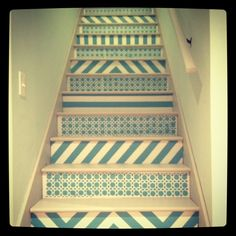 Chevron patterned and stenciled stairs!!  Love my new stairs like this!