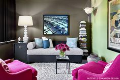 This would be a GREAT teenage girl 'hang out' space, where both Mom & Dad could sit comfortably... All you'd need if there's 1 boy would be a charcoal leather chair, replacing 1 chair of this pair of pink chairs!
