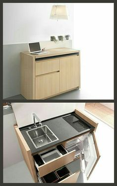 Mini Kitchen Set Design Ideas For Tiny Apartment : Mini Kitchen Set Design Ideas For Tiny Apartment Micro Kitchen, Compact Kitchen, Kitchen Sets, Kitchen Unit, Hidden Kitchen, Functional Kitchen, Smart Kitchen, Kitchen Small, Tiny Spaces