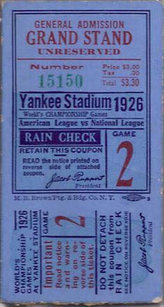 1926 World Series Cardinals at Yankees Game 2