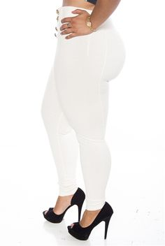 1a39d7bbddb Totally Nautical 8 Button High Waist Plus Size Pants - Cream from Last Exit  at Lucky