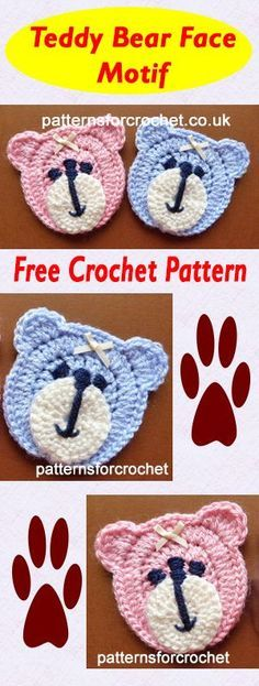 Teddy bear applique, free crochet pattern. #crochet