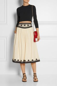 Suno | Embroidered cotton midi skirt, Net-A-Porter, love this look.