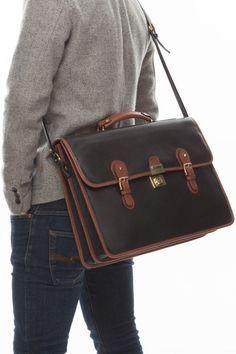 Cathy Prendergast Irish Designer Leather Handbags - Ossian Black and Tan Briefcase Leather Briefcase, Leather Bags, Pebbled Leather, Leather Men, Designer Leather Handbags, Men's Collection, Irish, Stylish, Black