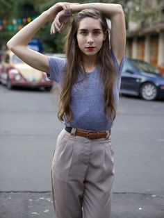 Micro-Poly High-Waist Pleated Pant | Pants | New & Now's Women | American Apparel