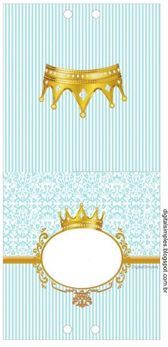 Corona Dorada en Fondo Celeste: Etiquetas para Candy Bar para Imprimir Gratis. Bakery Business Cards, Candy Labels, Prince Birthday, Diy And Crafts, Paper Crafts, Paper Gift Box, Boy Baptism, The Little Prince, Baby Princess