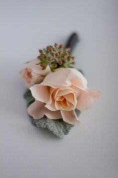 Peach Garden Rose Boutonniere toronto wedding at the burrough's building from mango studios +