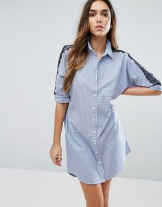 River Island Shirt Dress With Lace Insert in blue at Asos