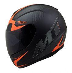 MT Thunder Squad Motorcycle Helmet Matt Black Orange motorbike Crash Lid Scooter | eBay
