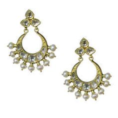 Mughal Style Indian Chand Bali Earrings with Enamel and Rose Cut Diamond