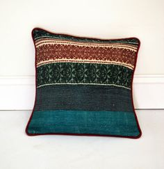 One of a Kind Turquoise Vintage Sari Pillow