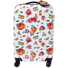 Betsey Johnson Bright Lights Floral Roller Luggage (9,435 INR) ❤ liked on Polyvore featuring bags, luggage and white multi