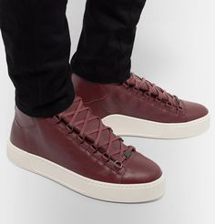 Boldly hued sneakers will enliven even the most subdued casual looks, and these 'Arena' high-tops from <a href='http://www.mrporter.com/mens/Designers/Balenciaga'>Balenciaga</a> are just the ticket. Meticulously made from full-grain leather, they have wide, gusseted tongues and sleek matte-black hardware for an irrefutably cool finish. Wear yours with slim-cut jeans.
