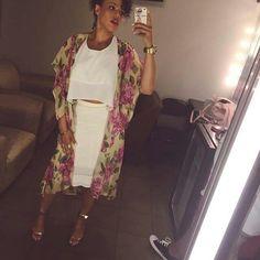 ❤❤❤ Elle Varner, Kimono Top, Sari, Work Outfits, Coat, Skirts, Jackets, Women, Fashion